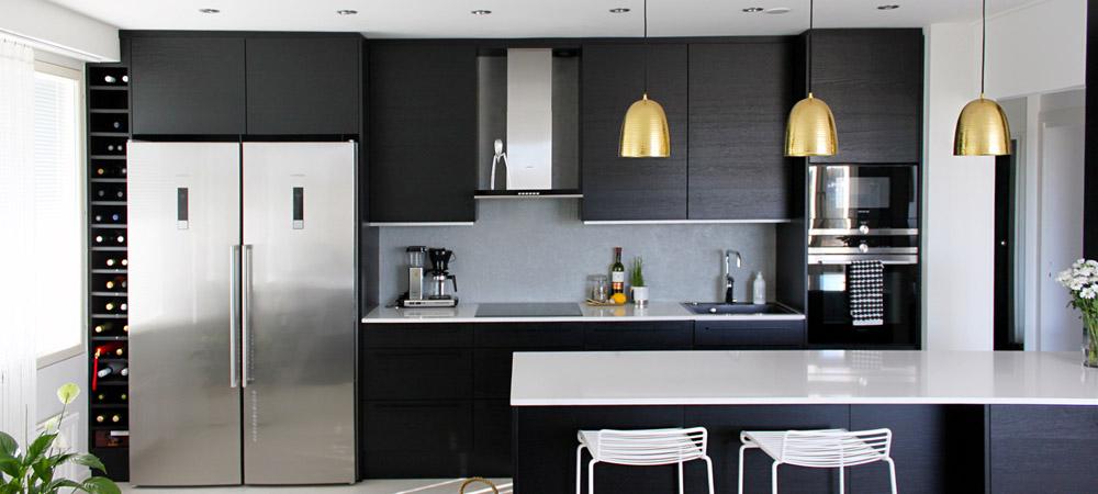Mustaa valkoisella keittiökuva